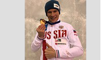 Nickolay Kuzovlev wins a gold medal in the UIAA Ice Climbing World Cup 2018 in Switzerland